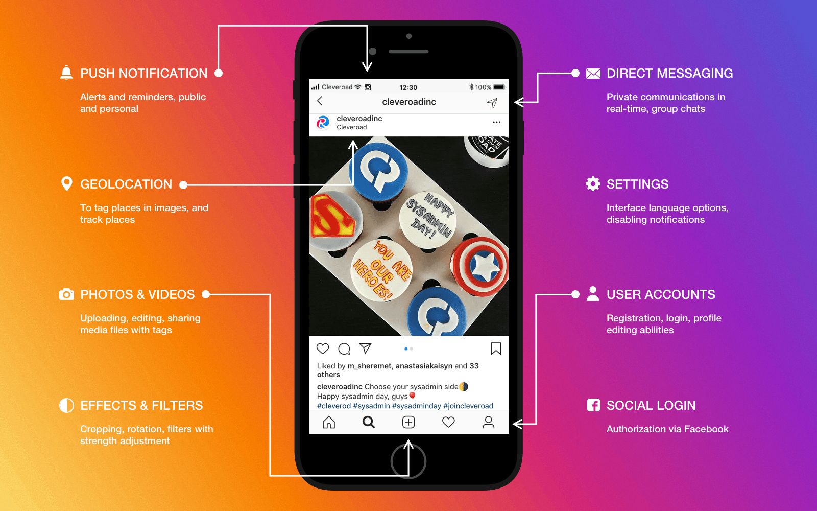 Features of trending networking apps like Instagram